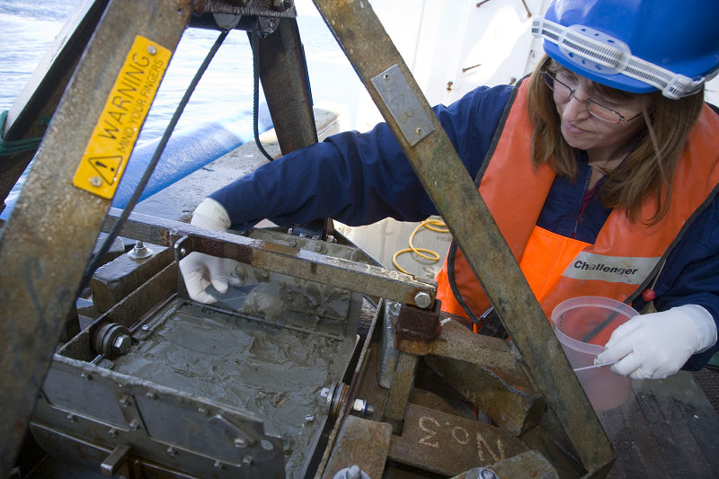 Recovery of a sample of seabed sediment from a Day grab for chemical analysis on MRV Scotia © Marine Scotland