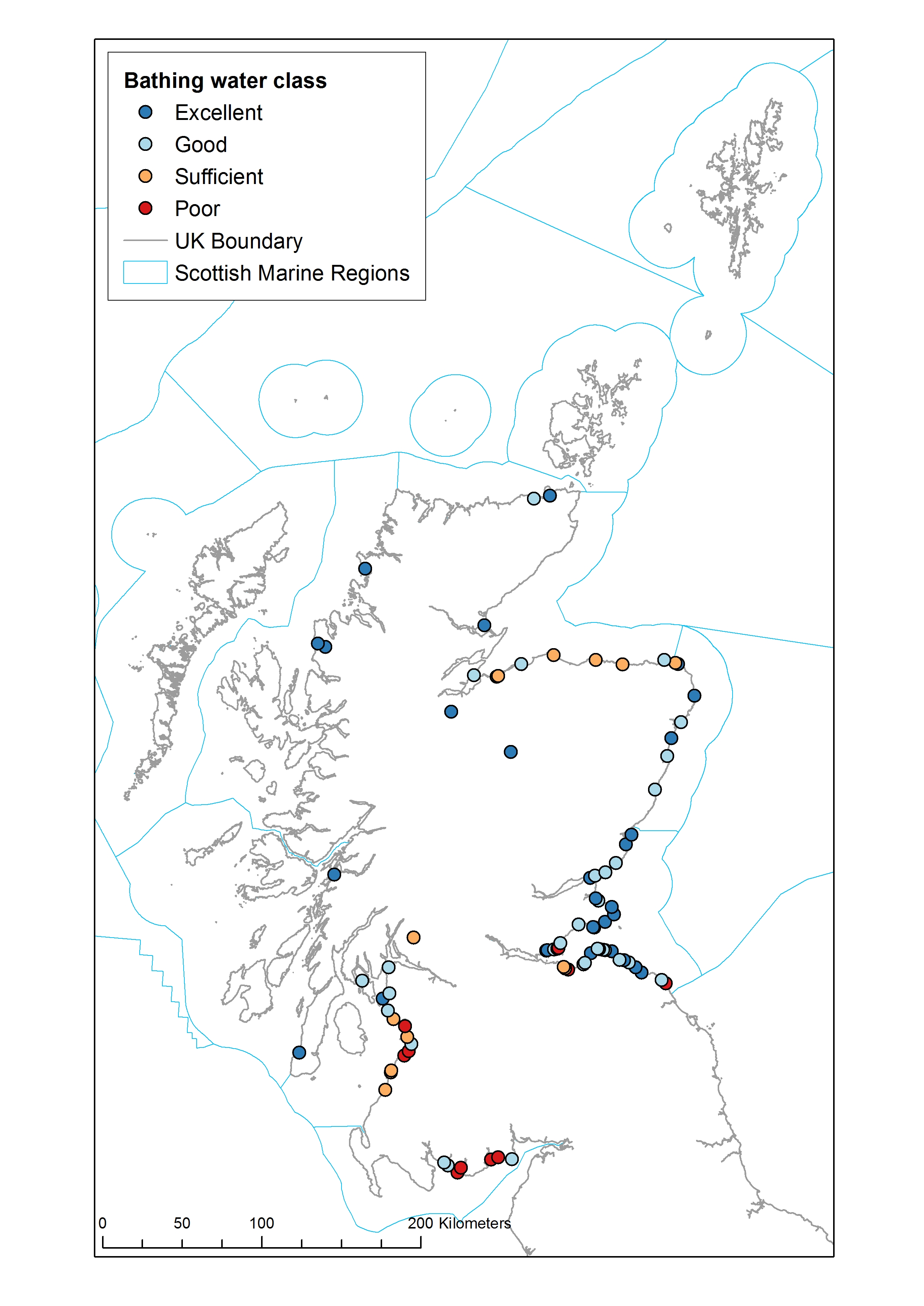 Location and classification of Scottish bathing waters in 2018