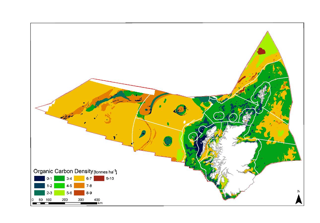 Spatial distribution of Organic Carbon (OC) across Scotland's continental shelf and Exclusive Economic Zone sediments (Smeaton et al., 2020)