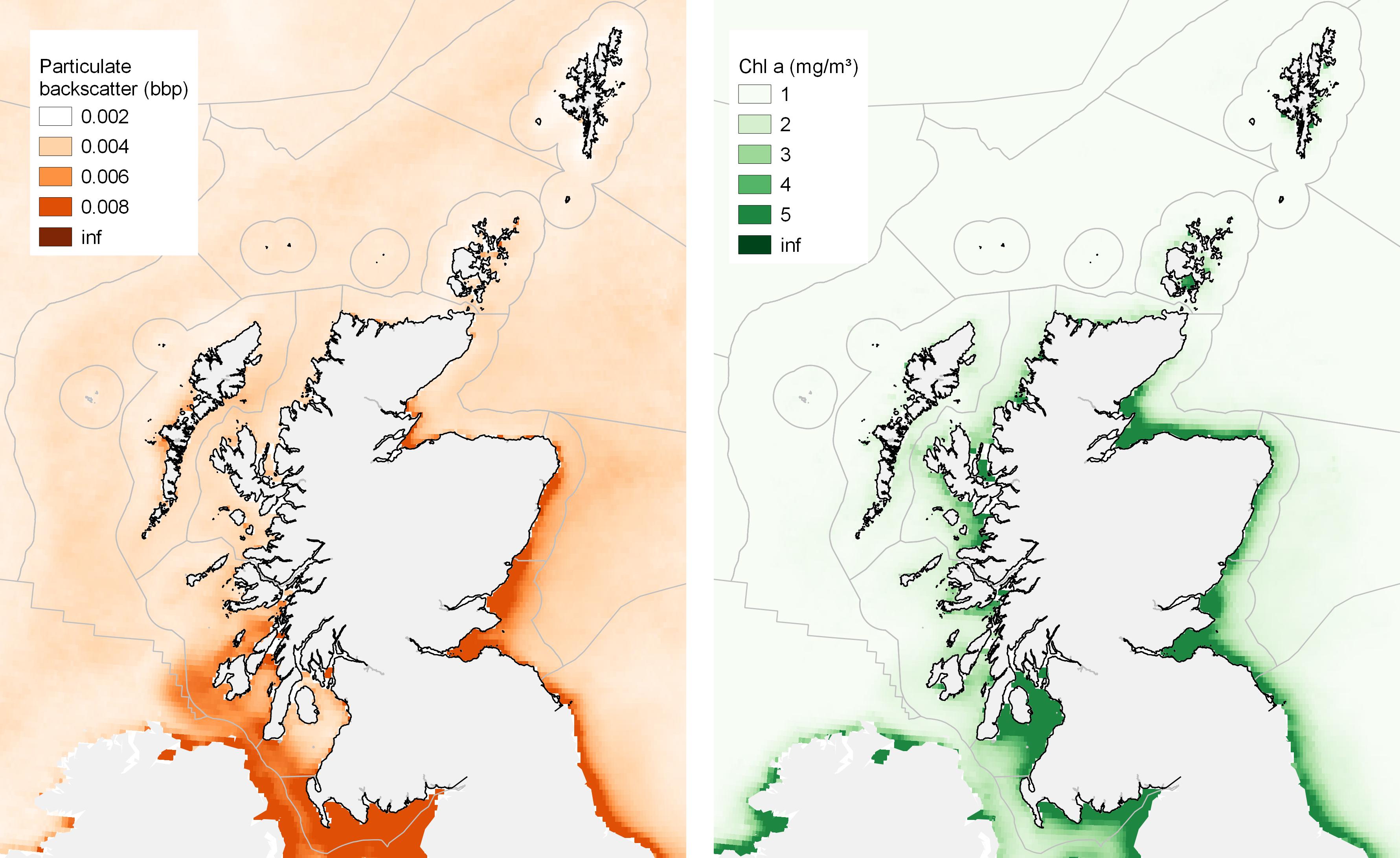 Light: satellite-derived estimates of (left) suspended sediment as a contribution to scattering of light at the sea surface (right) surface chlorophyll a