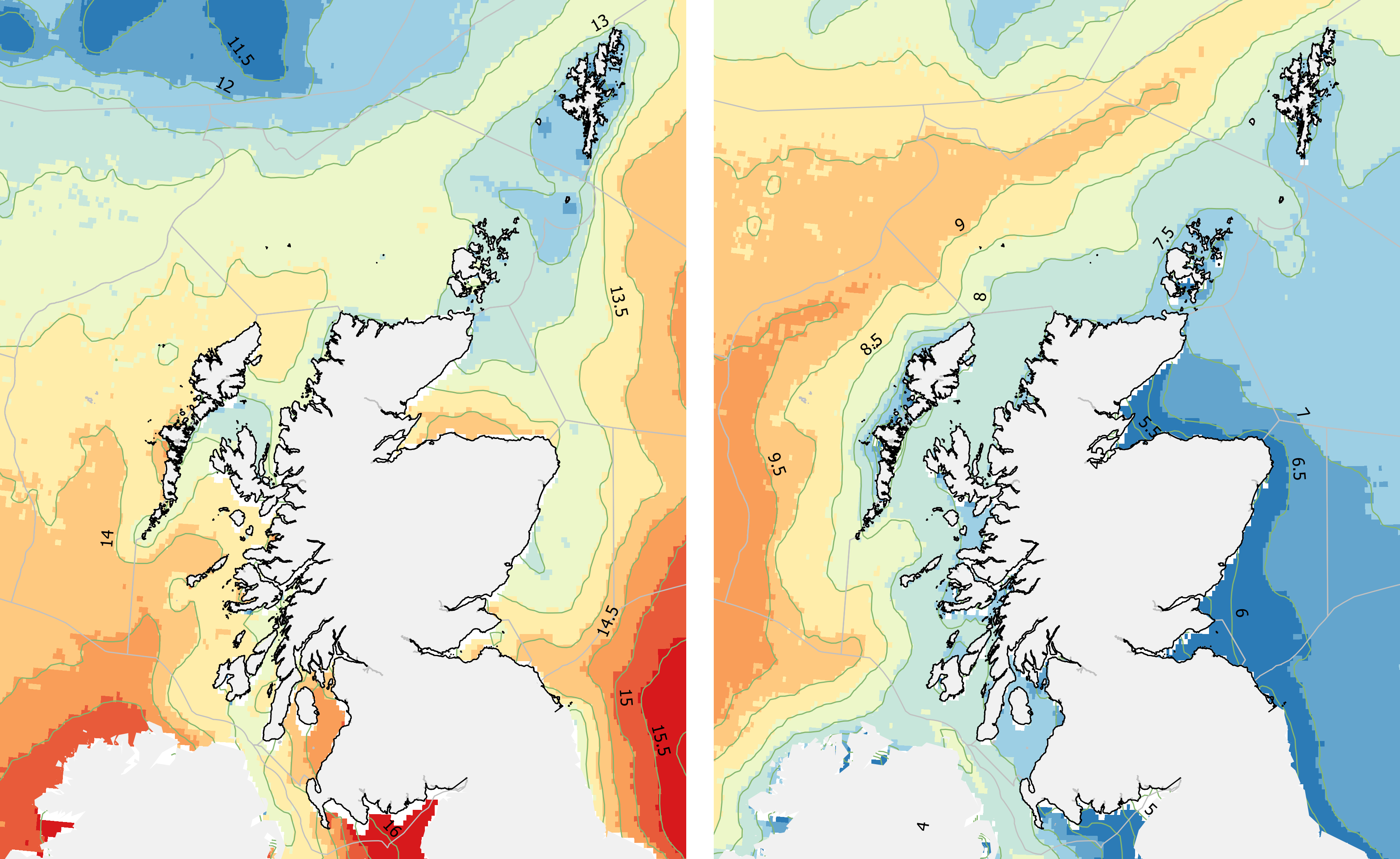 Sea surface temperature: (left) August 1982-2018 average, (right) February 1982- 2018 average (Data: NOAA OISST V2 HR daily 4km SST). Contours show 0.5°C intervals