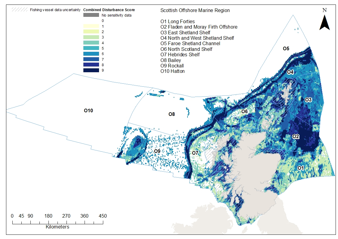 Disturbance from combined surface and subsurface abrasion from bottom fisheries in Scottish waters