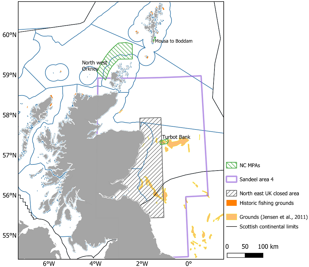 Chart showing the extent of ICES assessment area 4 and the various spatial measures for sandeels within Scottish waters. Blue lines show Scottish Marine and Offshore Regions for context.