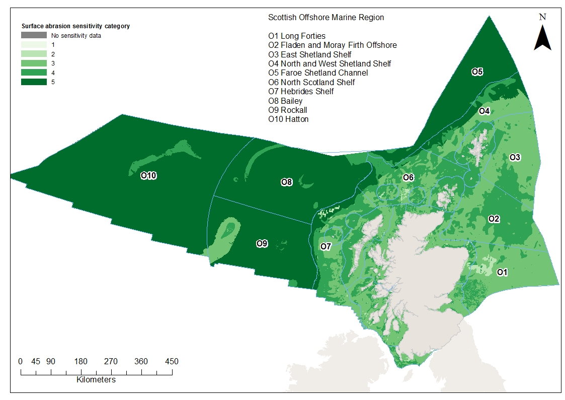 Extent and distribution of habitat and benthic species sensitivities to surface abrasion in Scottish waters