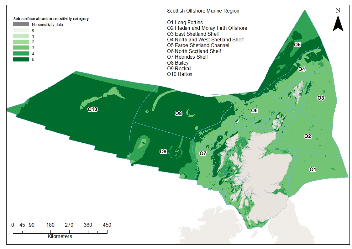 Extent and distribution of habitat and benthic species sensitivities to sub surface abrasion in Scottish waters