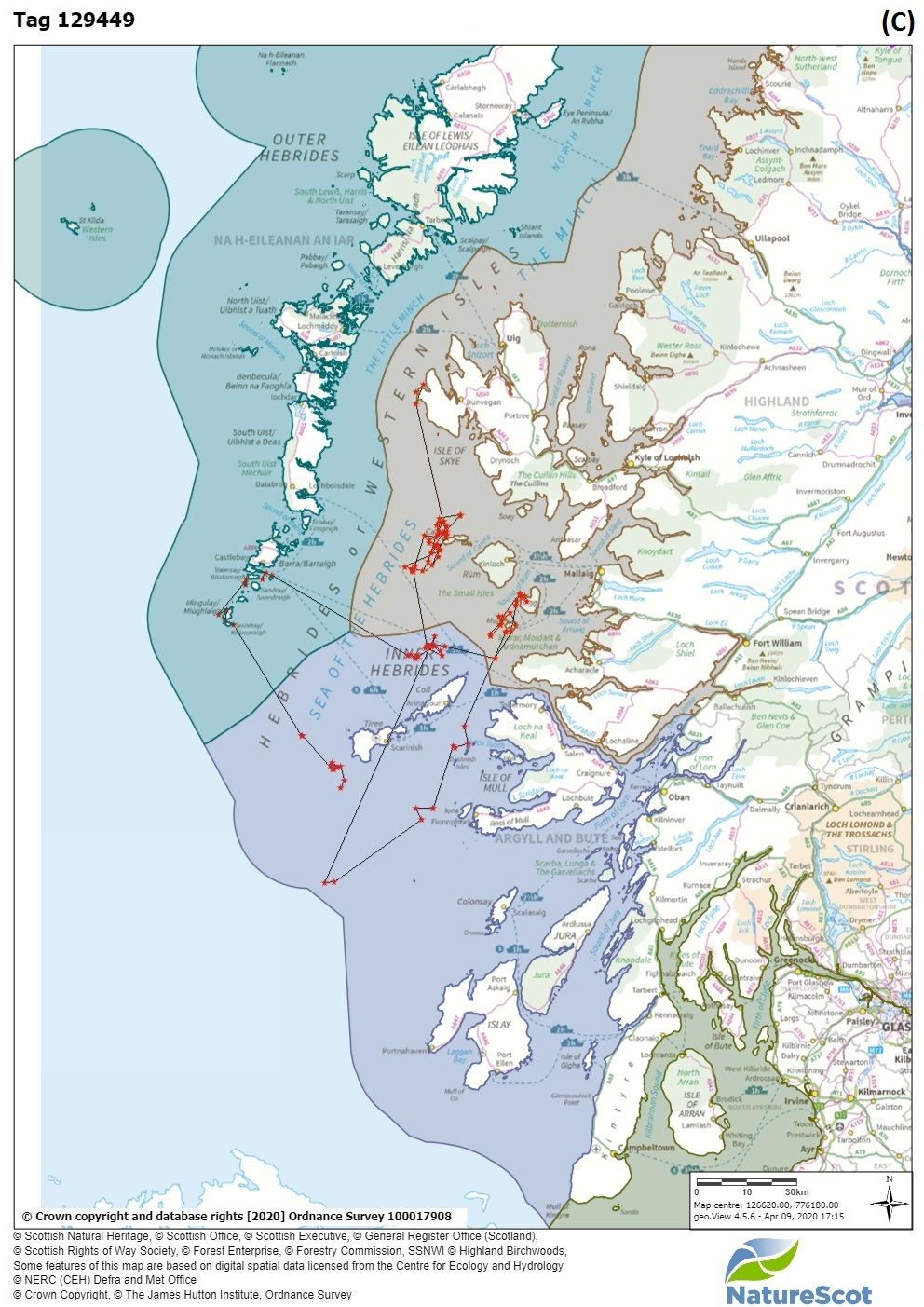 Figure 3: Site fidelity – maps A to D show individual basking shark surface locations from satellite tags deployed during 2012, 2013 or 2014.