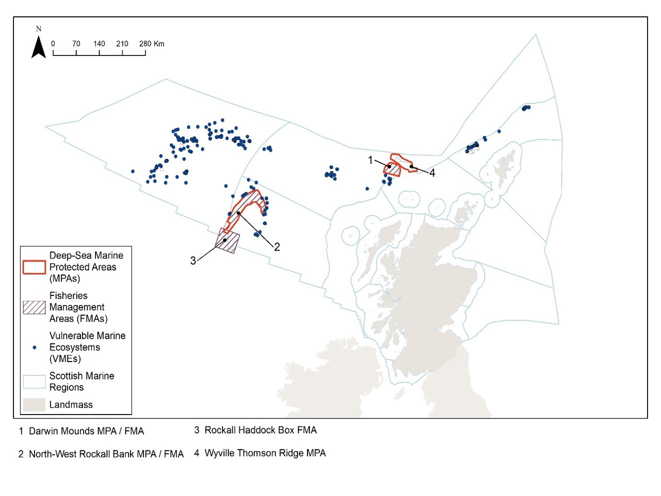 Figure 9. Distribution of Deep-sea Marine Protected Areas (MPAs) and Vulnerable Marine Ecosystems (VMEs) in Scottish waters in 2011 and the Fisheries Management Areas in place.