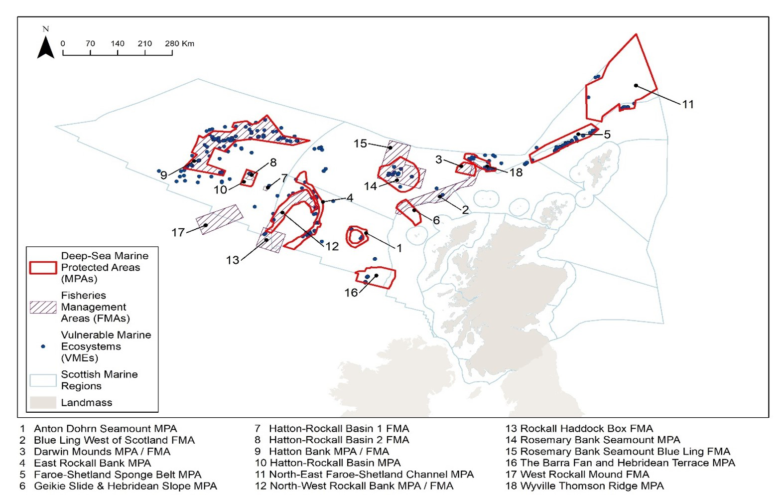 Figure 10. Distribution of Deep-sea Marine Protected Areas (MPAs) with Vulnerable Marine Ecosystems (VMEs), in Scottish waters, in 2018.