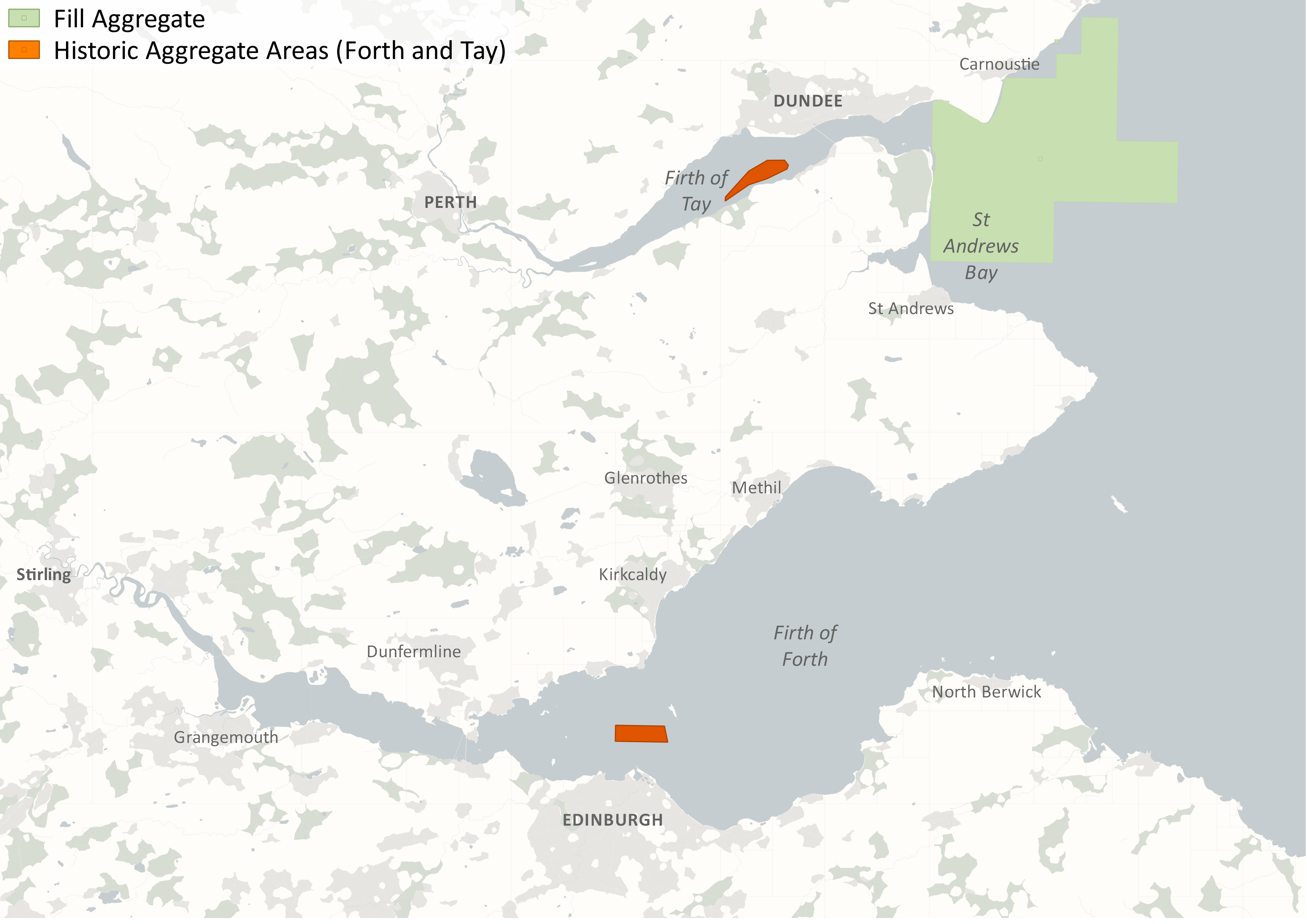 Figure 1: Historical areas in the Forth & Tay Scottish Marine Region. Source: Marine Scotland and The Crown Estate.