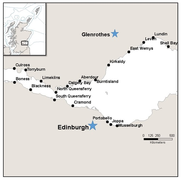 Figure 1: Location of sample sites (n=19) along the Firth of Forth coastline. Insert map shows the study area (black rectangle).