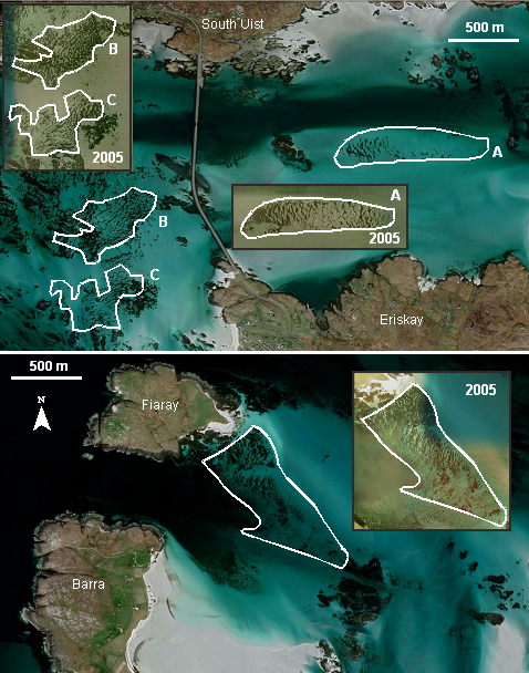 Satellite imagery of the Sound of Eriskay (upper) and Sound of Fiaray