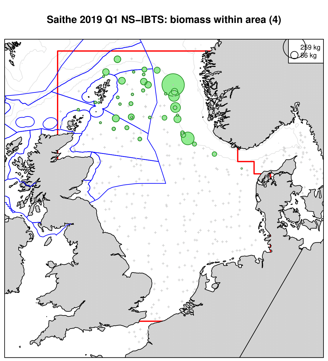 Saithe 2019 Q1 NS-IBTS: biomass within area (4)
