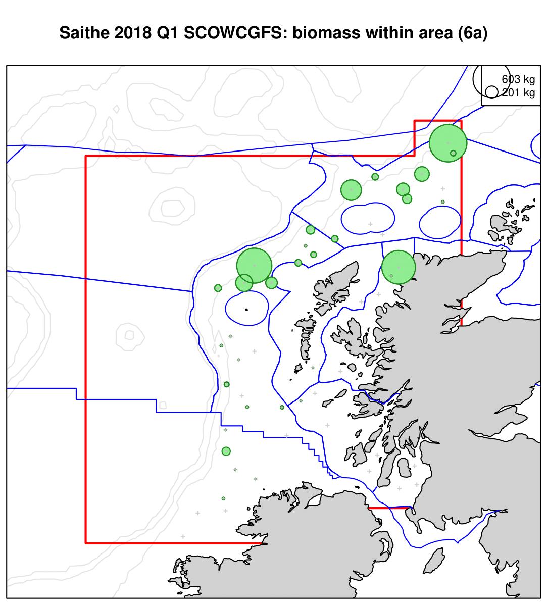 Saithe 2018 Q1 SCOWCGFS: biomass within area (6a)