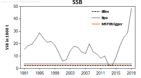 ICES stock summary plots for haddock in area 6b (Rockall) - SSB