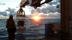 CTD (Conductivity, Temperature and Depth) deployment at sunset