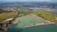 New Aberdeen development (foreground) with existing harbour (background). © Transport Scotland.
