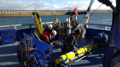 Figure 1: The AlterECO team preparing the ocean gliders on the RV Princess Royal (University of Newcastle) at Blyth.