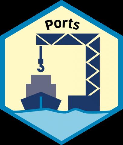 Blue economy sector hexagon ports