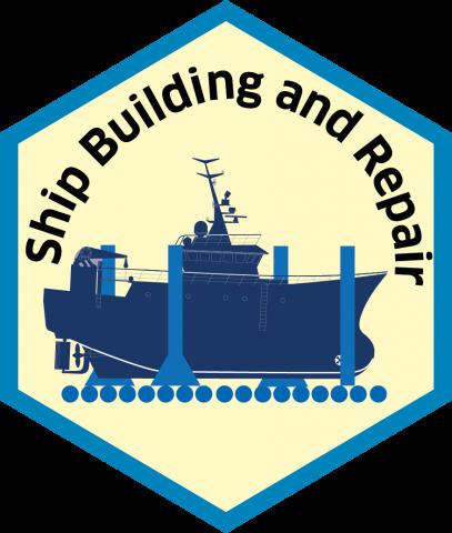 Blue economy sector hexagon ship building