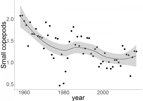 Trends in log10+1 annual abundances of small copepods: CPR-Long Forties