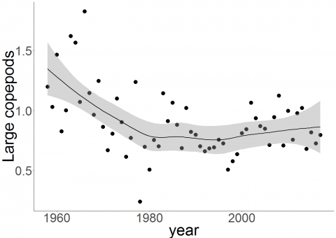 Trends in log10+1 annual abundances of large copepods: CPR-Long Forties